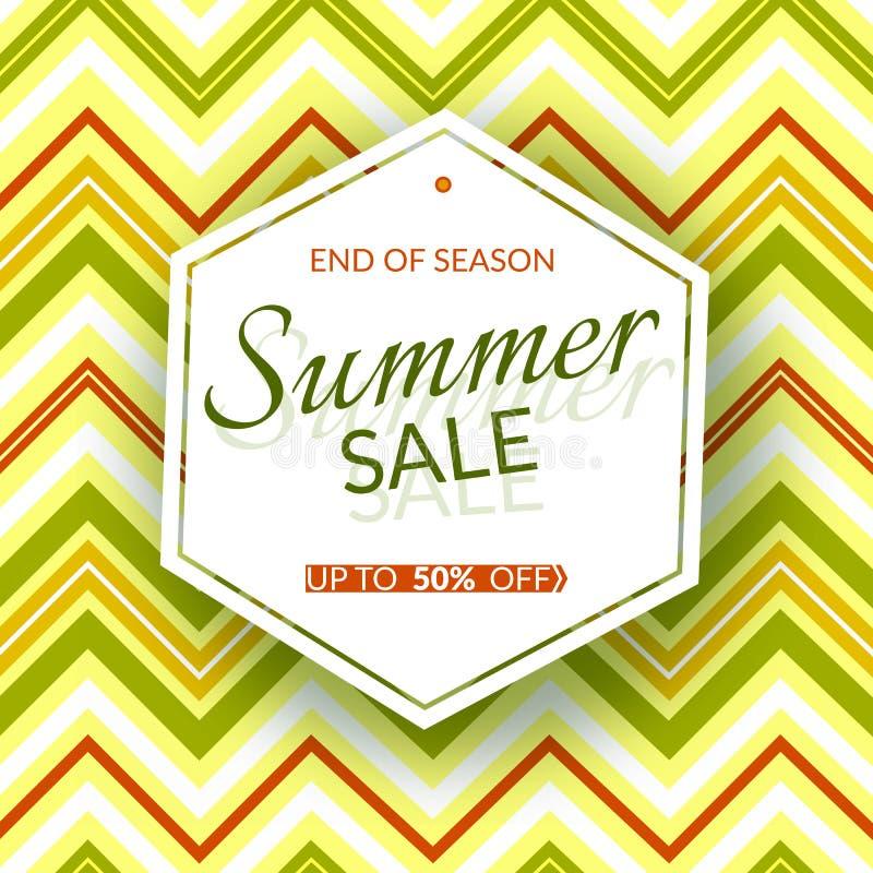Het geometrische de verkoopeind van de bannerzomer van seizoen50% korting op de uitstekende geometrische achtergrond retro themaz stock illustratie