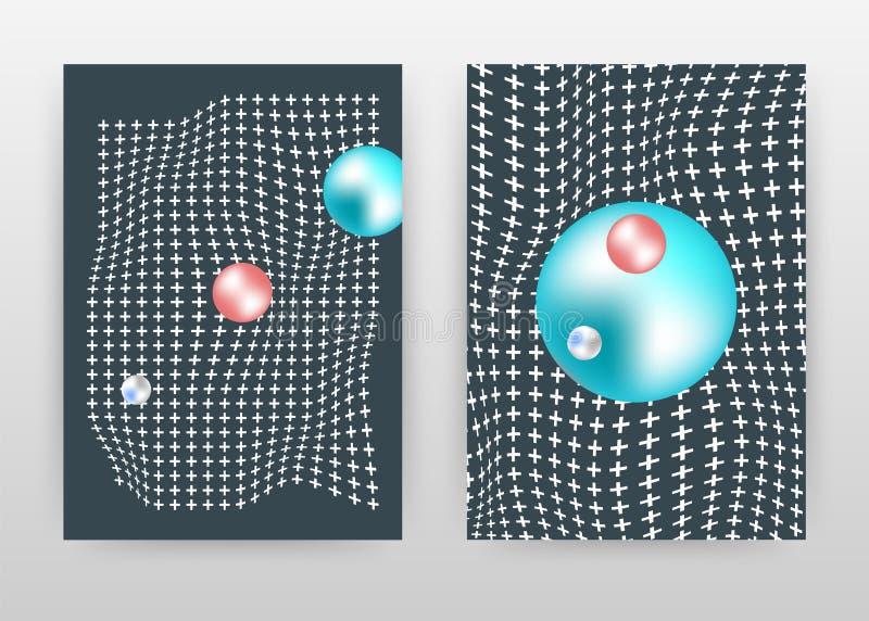 Het geometrische golven plus lijnen bedrijfsontwerp voor jaarverslag, brochure, vlieger, affiche Geometrische blauwe ronde parels royalty-vrije illustratie