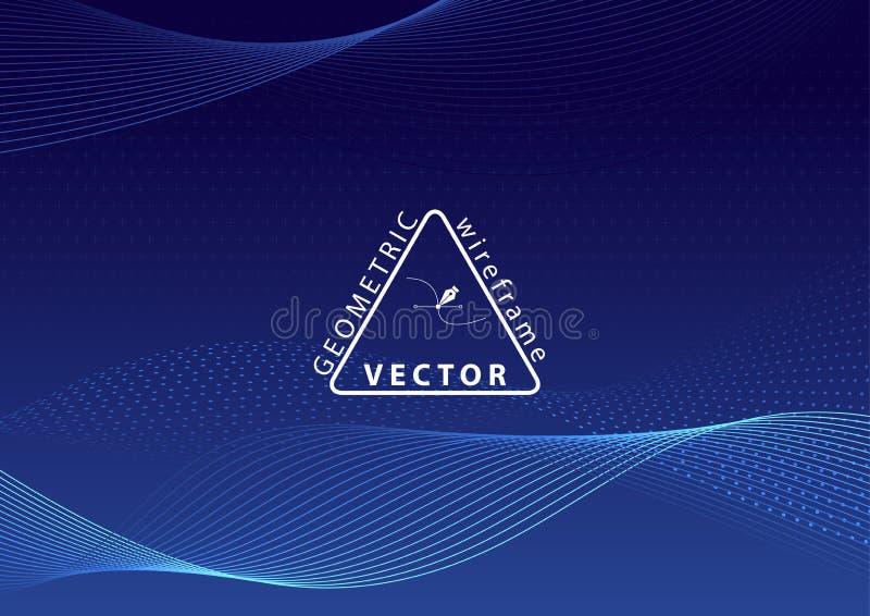 Het geometrische Golven Wireframe op Blauwe Achtergrond stock illustratie