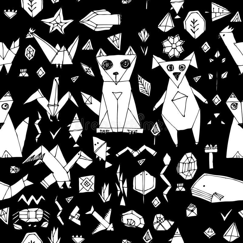 Het geometrische naadloze patroon met van de vosvissen van de Hondkat de vogels overzeese dieren en planten, zwarte decoratieve e stock illustratie