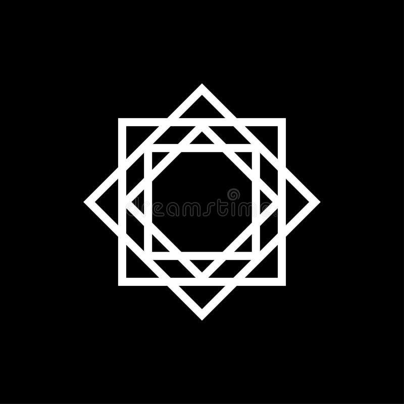 het geometrische ontwerp van de het tekenbrief o van het pictogramembleem op zwarte achtergrond royalty-vrije illustratie