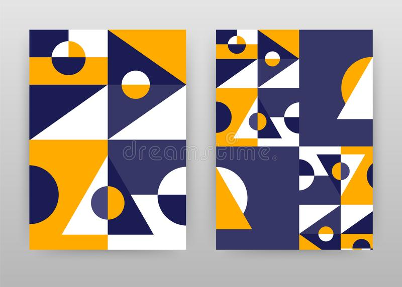 Het geometrische ontwerp van driehoeksvormen voor jaarverslag, brochure, vlieger, affiche Meetkunde gele purpere abstracte vector stock illustratie