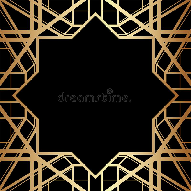Het geometrische Ontwerp van Gatsby Art Deco Style Border Frame stock illustratie