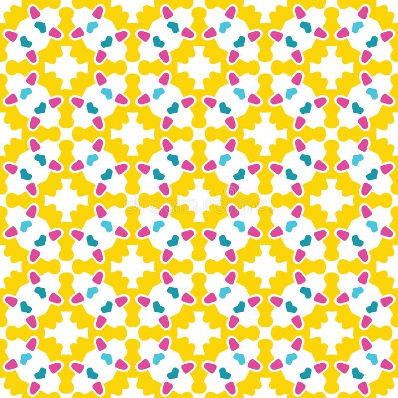 Het geometrische retro cirkelmoza?ek geeft naadloos patroon gestalte Overal druk vectorachtergrond Van de het damasttegel van de  stock illustratie