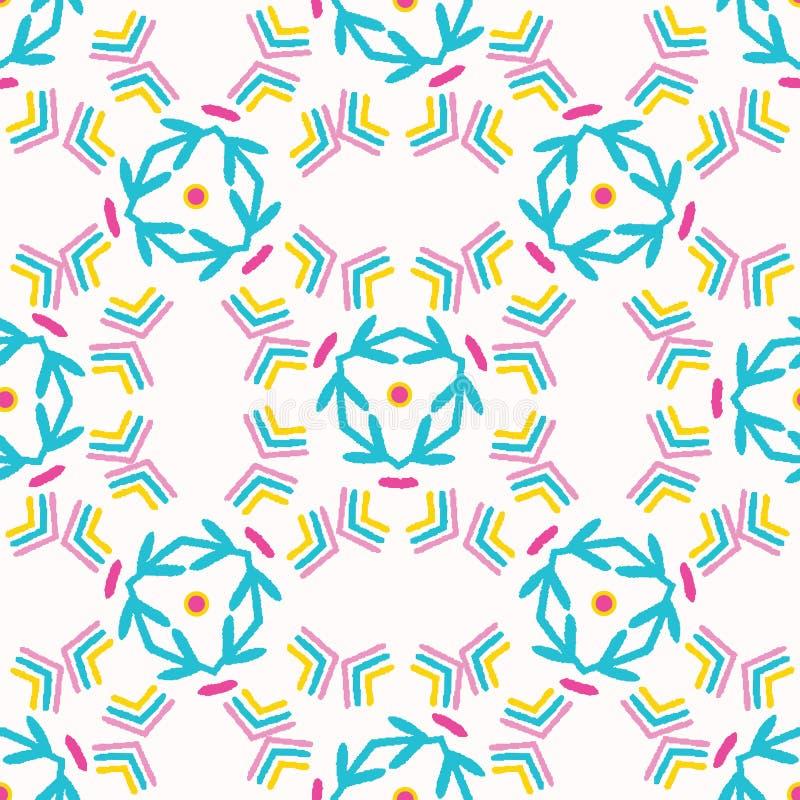 Het geometrische retro net geeft naadloos patroon gestalte Overal druk vectorachtergrond Mooie van de het dekbedtegel van de zome royalty-vrije illustratie