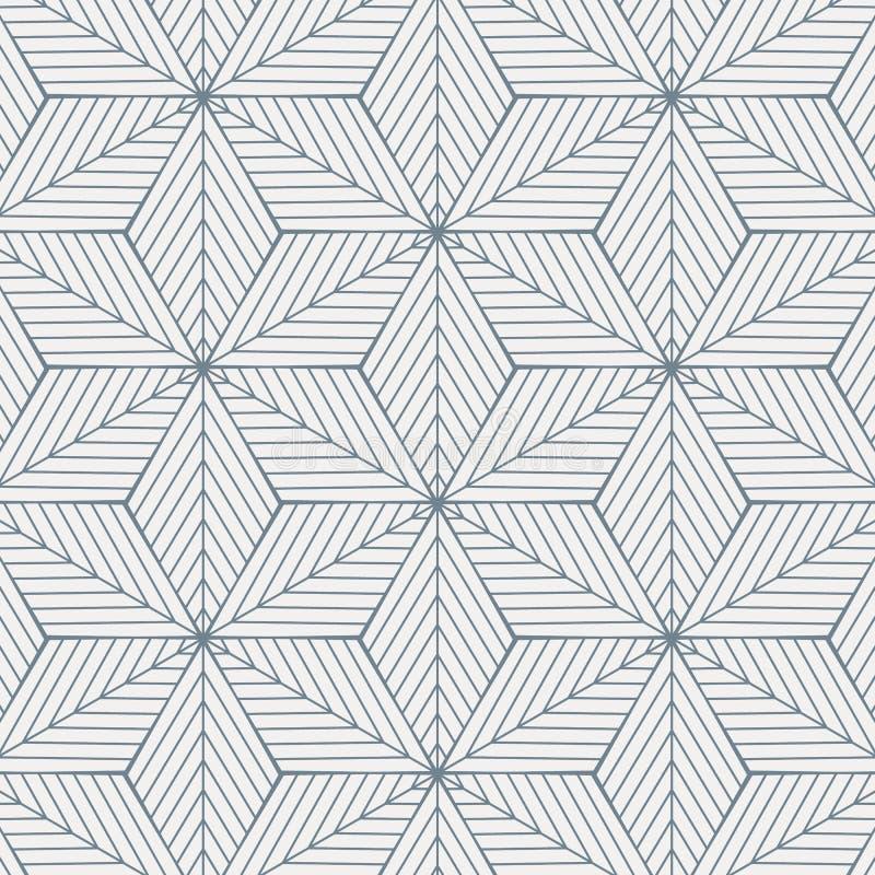 Het geometrische vectorpatroon, die lineaire diagonale hoek op ruitvorm herhalen verbond elk, abstracte ster, bloem vector illustratie
