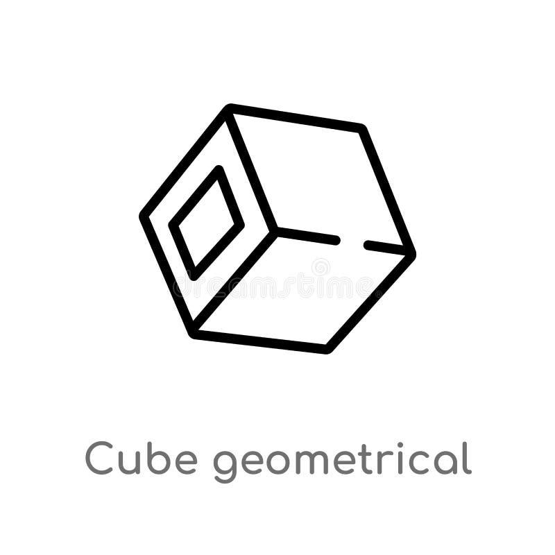 het geometrische vectorpictogram van de overzichtskubus de ge?soleerde zwarte eenvoudige illustratie van het lijnelement van vorm stock illustratie