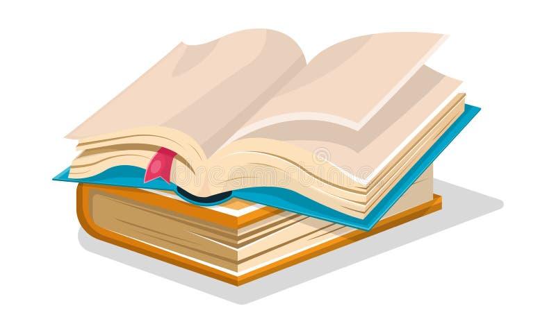 Het geopende blauwe boek met lege bladen en roze referentie is op gesloten blauw een andere Vector beeldverhaalillustratie royalty-vrije illustratie