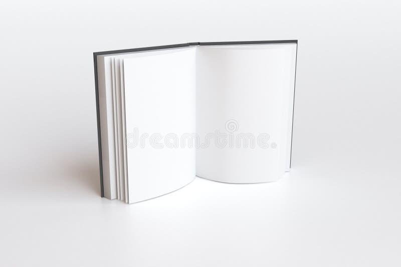 Het geopende boek met lege witte pagina's, bespot omhoog vector illustratie