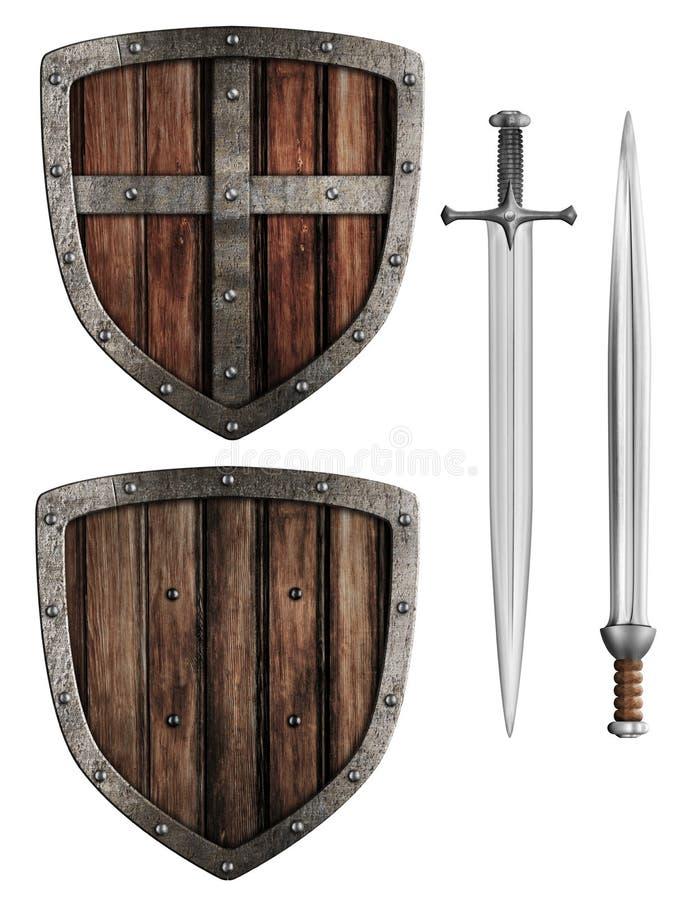 Het geplaatste schild en de zwaarden van de oude houten middeleeuwse ridder stock afbeelding