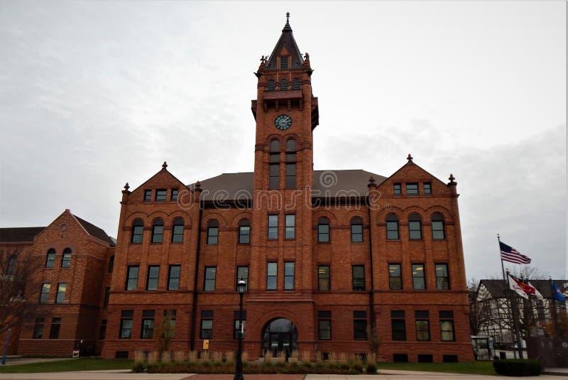 Het gerechtsgebouw Urbana Illinois van de open vlakteprovincie stock foto