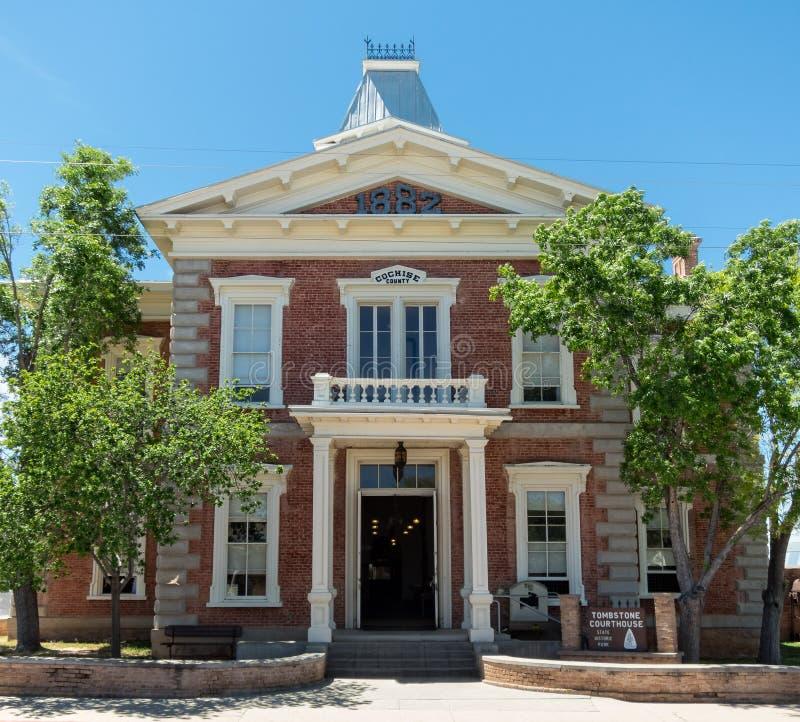 Het gerechtsgebouw van de provincie in Grafsteen, Arizona stock afbeelding