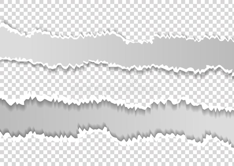 Het geregelde gescheurde horizontale grijze document voor tekst of het bericht is op witte achtergrond royalty-vrije illustratie