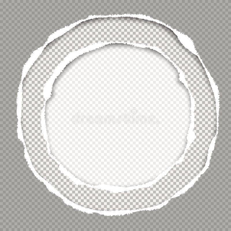 Het geregelde grijze document, de ronde samenstelling met gescheurde randen en de zachte schaduw zijn op witte achtergrond Vector royalty-vrije illustratie