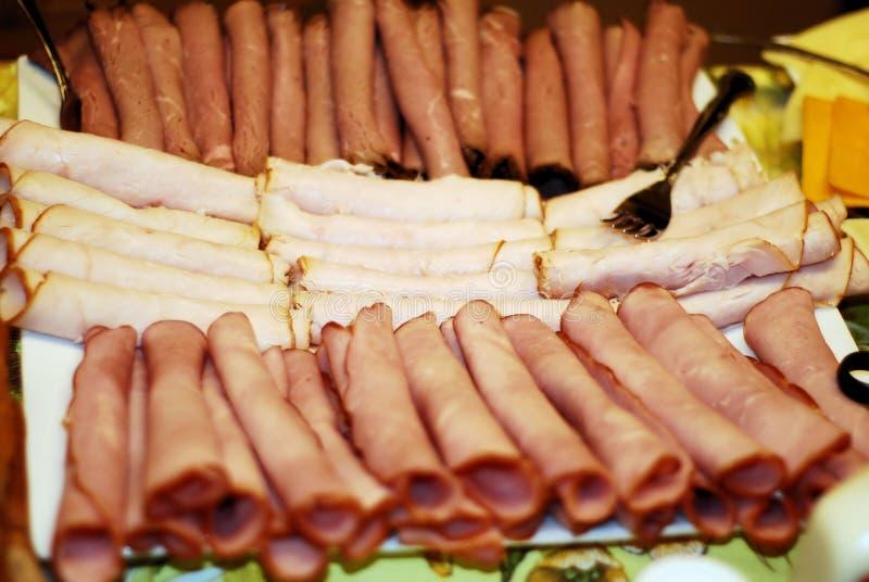 Het gerolde Vlees van de Lunch stock afbeeldingen