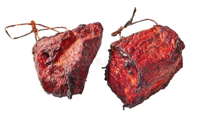 Het gerookte die haasbiefstuk van het barbecuevarkensvlees op wit wordt ge?soleerd stock foto's