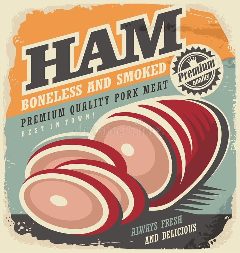 Het gerookte ontwerp van de ham retro affiche royalty-vrije illustratie