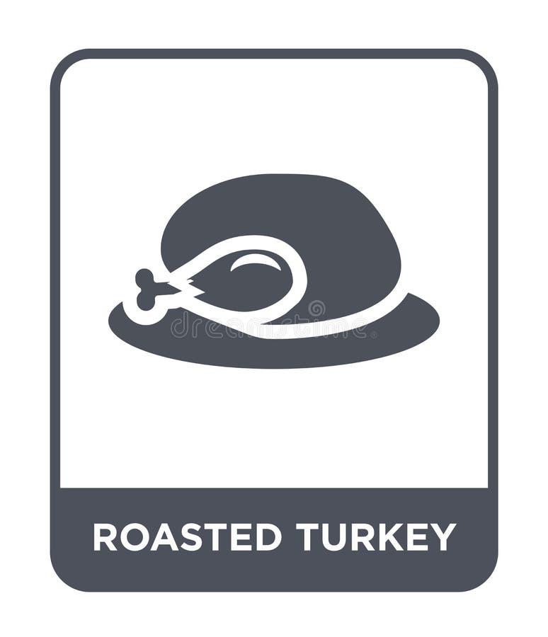 het geroosterde pictogram van Turkije in in ontwerpstijl het geroosterde die pictogram van Turkije op witte achtergrond wordt geï royalty-vrije illustratie