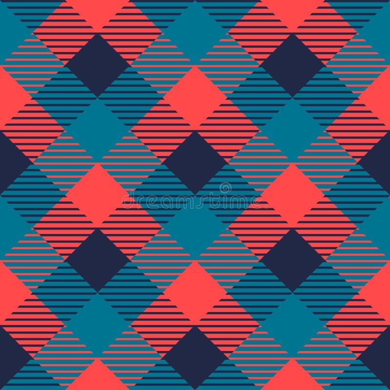 Het geruite naadloze patroon van de gingangstof in grijze blauw en roze, vector royalty-vrije illustratie