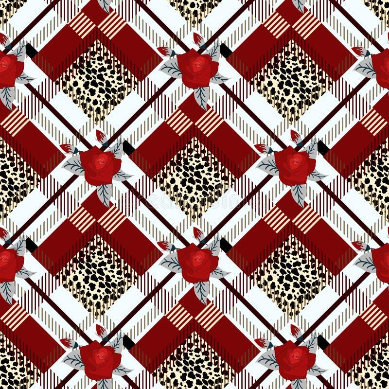 Het geruite Schots wollen stof met Rood nam en het zwarte van de het geruite Schots wollen stof traditionele stof van de luipaard vector illustratie