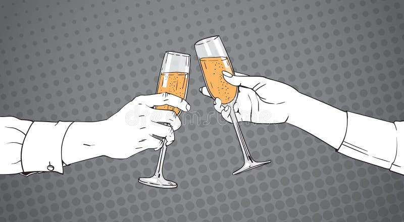 Het geschetste Glas van Clinking van Paarhanden van Champagne Wine Toasting Pop Art Retro Pin Up Background royalty-vrije illustratie