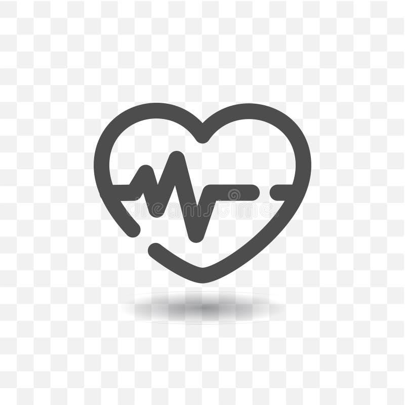Het geschetste hart sloeg pictogram stock illustratie