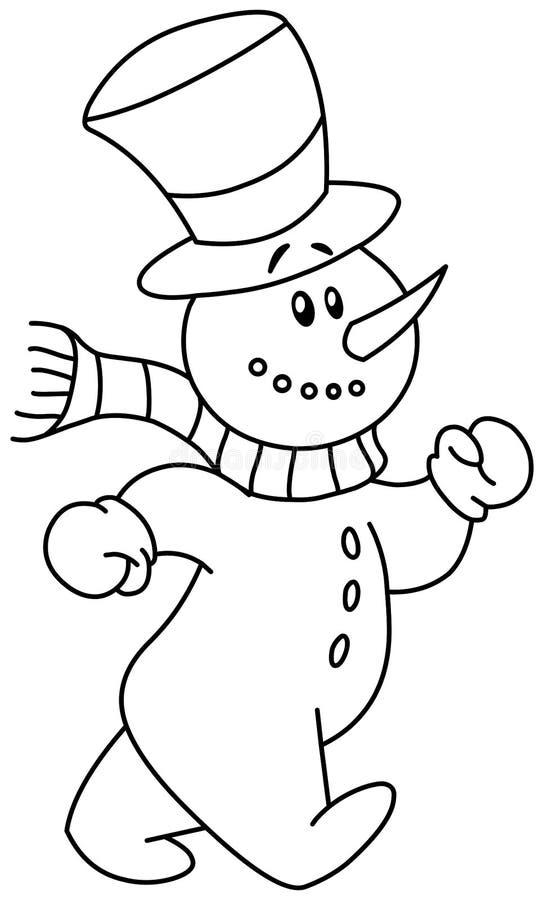 Het geschetste sneeuwman lopen stock illustratie