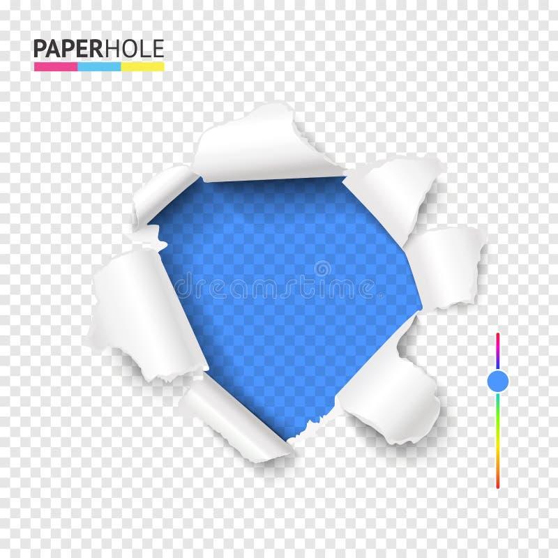 Het gescheurde gat van de karton heldere kleur met gescheurde rand Het vector lege gat teared binnen document op transparante ach vector illustratie
