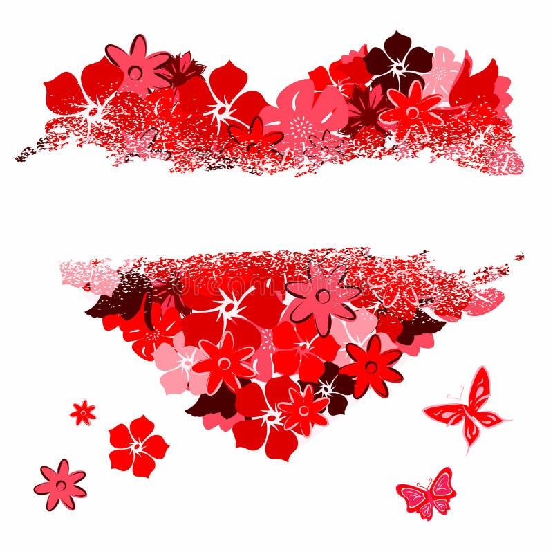 Het gescheurde hart van florals stock illustratie
