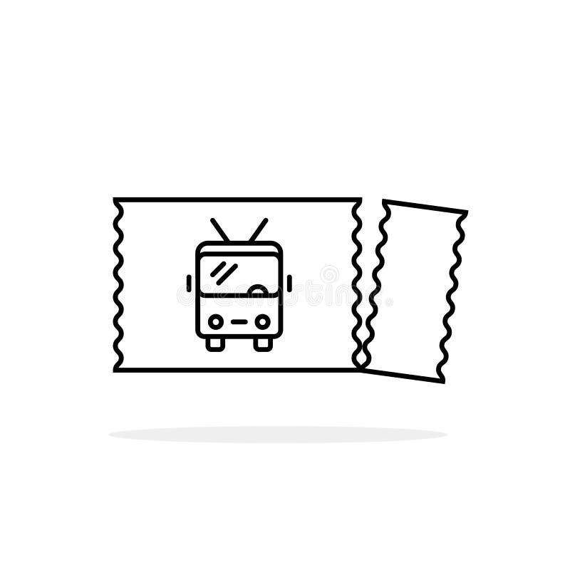 Het gescheurde zwarte lineaire pictogram van het trolleybuskaartje stock illustratie