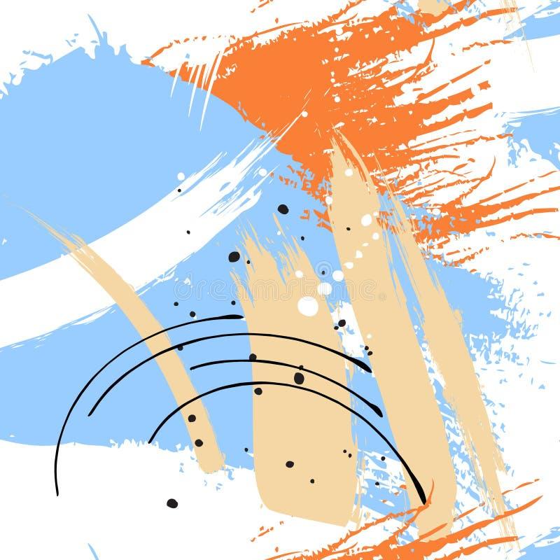 Het geschilderde blauwe patroon van grungestrepen Violette etiketten, achtergrond, verftextuur De borstel strijkt vectortextuur h stock illustratie
