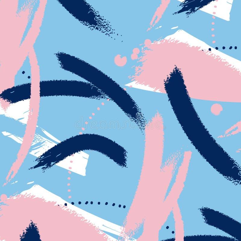 Het geschilderde blauwe patroon van grungestrepen Violette etiketten, achtergrond, verftextuur De borstel strijkt vectortextuur h vector illustratie