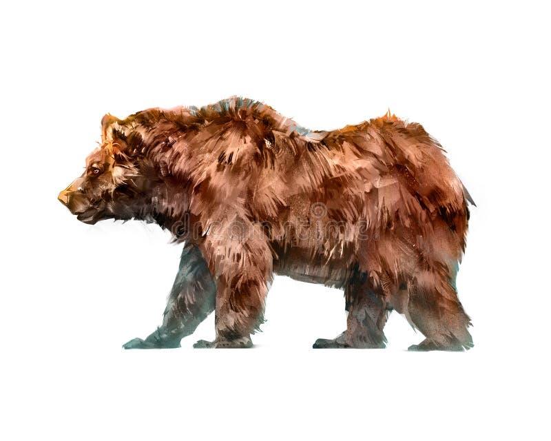 Het geschilderde gekleurde dierlijke lopen draagt zijaanzicht royalty-vrije illustratie