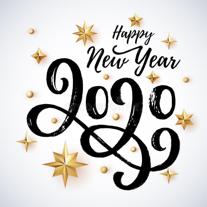 het geschreven van letters voorzien van 2020 hand met gouden Kerstmissterren royalty-vrije stock afbeelding