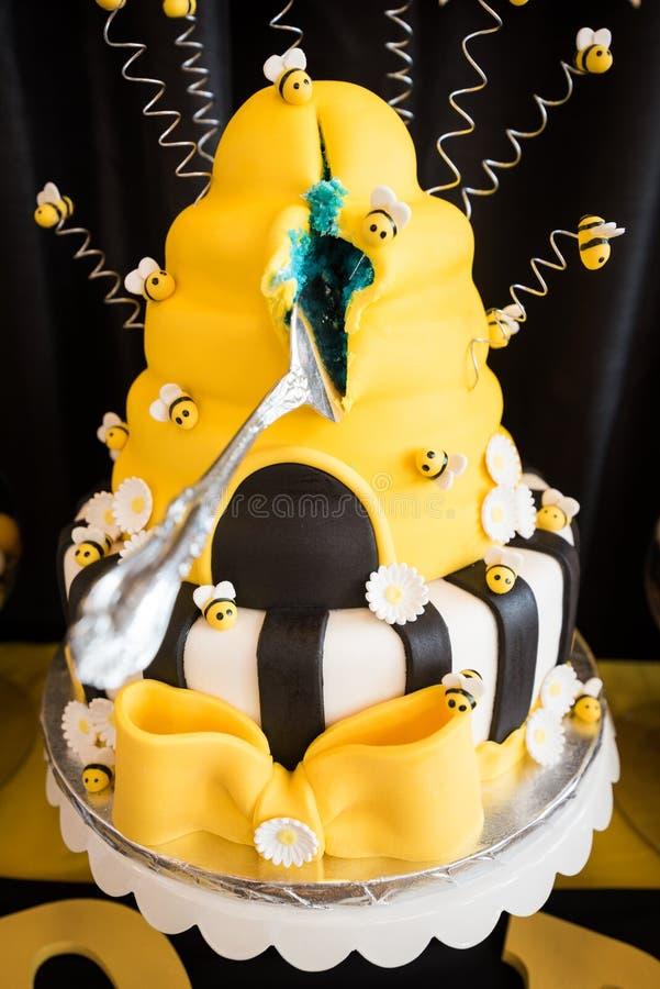 Het geslacht openbaart Cake stock foto's