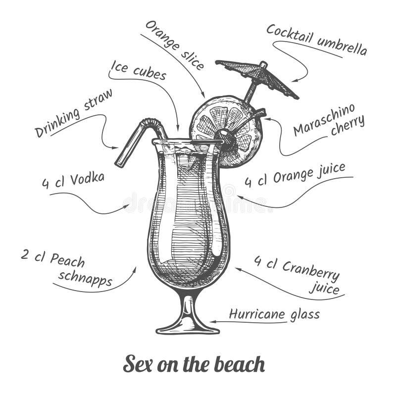 Het geslacht van de cocktail op het strand vector illustratie