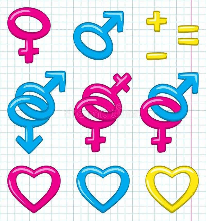 Het geslachtssymbolen van het beeldverhaal vector illustratie