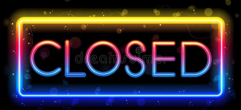 Het gesloten Teken van het Neon royalty-vrije illustratie