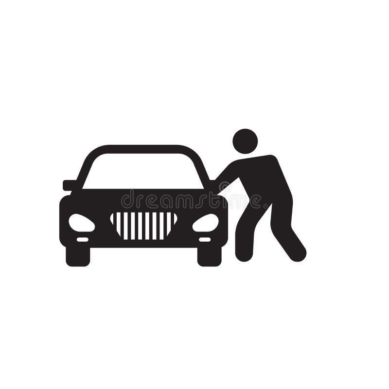 Het gesloten vectordieteken en het symbool van het autopictogram op witte achtergrond, het Gesloten concept van het autoembleem w royalty-vrije illustratie