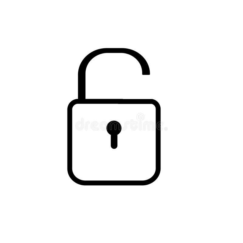 Het gesloten vectordieteken en het symbool van het hangslotpictogram op witte achtergrond, het Gesloten concept van het hangslote vector illustratie