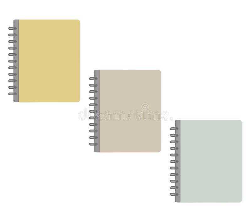 Het gesloten verbindende notitieboekje van de brievengrootte schijf - kleurendekking, prototypereeks royalty-vrije illustratie