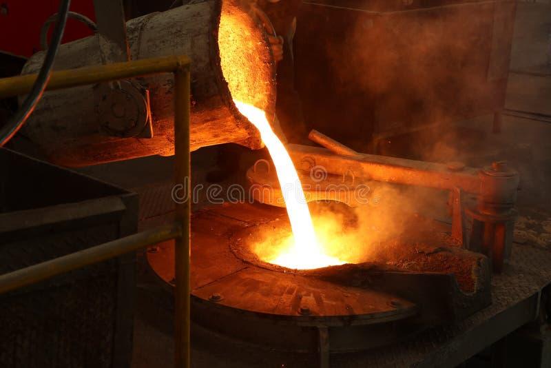 Het gesmolten ijzer giet van gietlepel in smeltende oven royalty-vrije stock foto