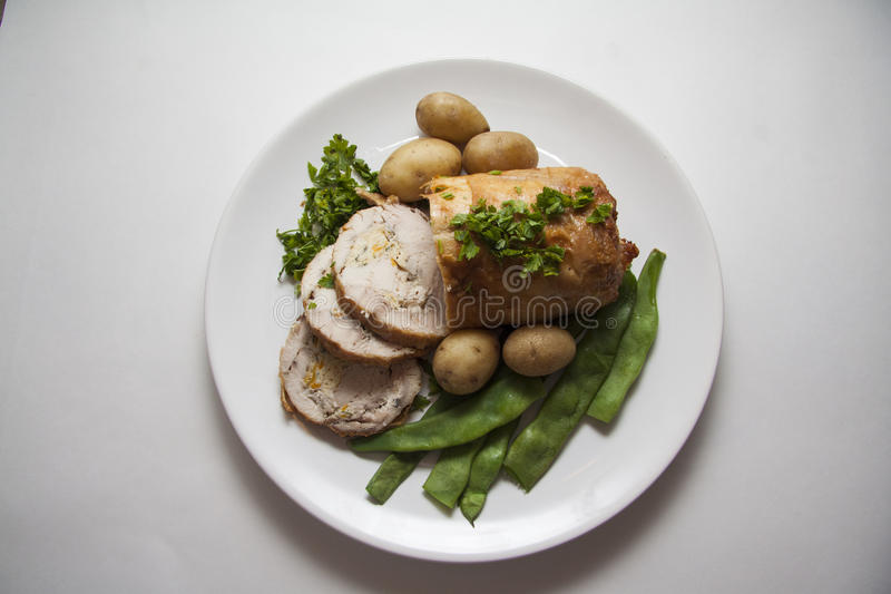Het gesneden broodje van de Kip stock afbeelding