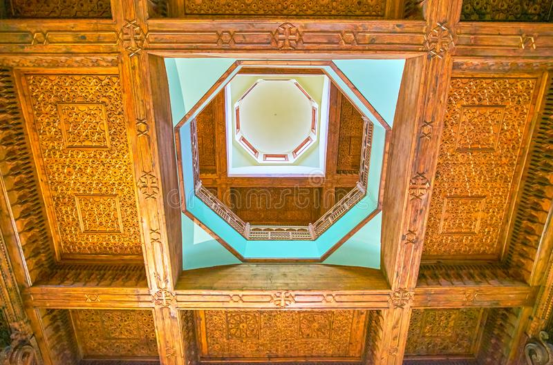 Het gesneden houten plafond in Koptisch Museum in Kaïro, Egypte royalty-vrije stock foto's