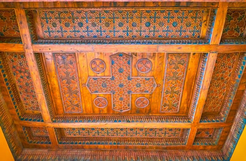 Het gesneden plafond in Koptisch Museum in Kaïro, Egypte royalty-vrije stock afbeeldingen