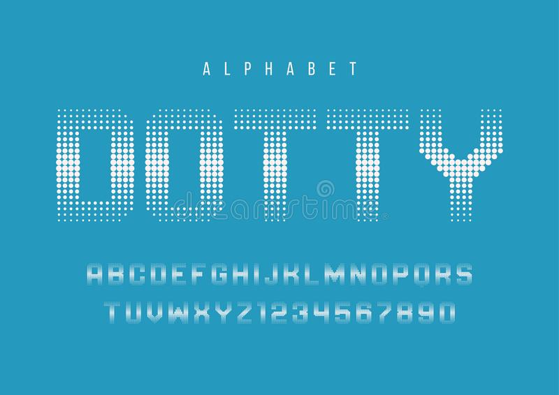 Het gespikkelde halftone ontwerp van de vertoningsdoopvont, alfabet, lettersoort, brieven vector illustratie