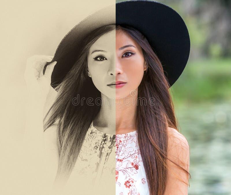 Het gespleten zwart-witte scherm, sepia en kleur, mooie nadenkende jonge Chinese Aziatische vrouw stock afbeelding