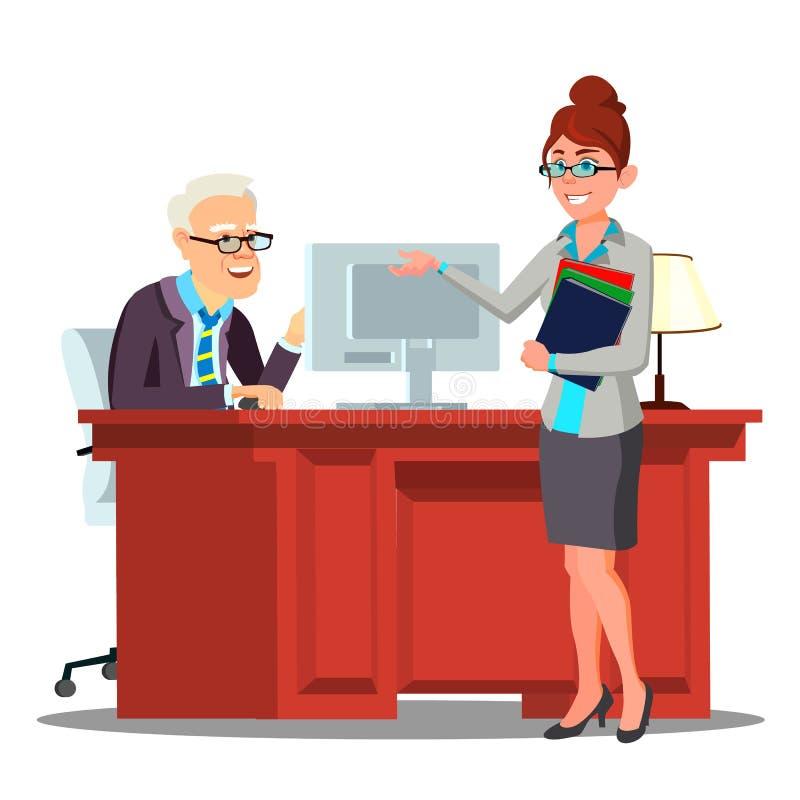 Het gesprek, Kandidaat introduceert zich aan Personeelslid met Curriculum vitaevector Geïsoleerdeo illustratie stock illustratie