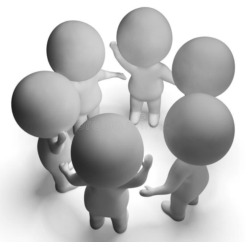Het gesprek tussen 3d Karakters toont Mededeling en Discu vector illustratie