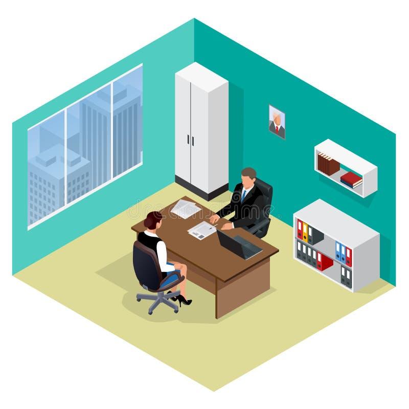 Het Gesprek van de baan Baankandidaten Concept het inhuren van arbeider Kandidaat en rekrutering, huur en interviewer, besluit en royalty-vrije illustratie